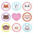 set of tags with animal theme set of tags with vector image vector image
