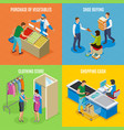 shopping people isometric design concept vector image vector image