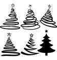 Six christmas-trees vector image