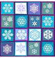 sixteen snowflakes vector image vector image