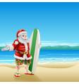 surf santa on the beach vector image vector image