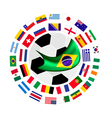 The 32 Teams in The Brazil 2014 vector image