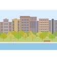 The city park on a background of buildings vector image vector image