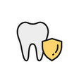 tooth protection dental save flat color vector image vector image