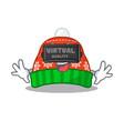 virtual reality winter hat in a cartoon bag vector image vector image