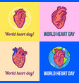 world red heart day banner set hand drawn style vector image vector image