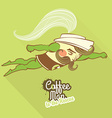 Coffee man character flying to the rescue vector image