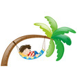 little boy sleeping on hammock vector image