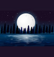 a silhouette night forest scene vector image vector image