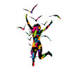 abstract colorful a woman jumping and birds vector image vector image