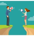 Abyss gap concept with man and woman shouting vector image vector image