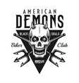 biker club black emblem with demon skull vector image vector image