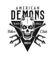 biker club black emblem with demon skull vector image vector image