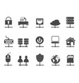 black network connection icons set vector image vector image