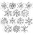 black outline snowflakes digital stamps vector image vector image