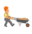 Builder with trolley is going to the project vector image vector image