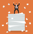 Businessman celebrating on a lot of documents vector image vector image