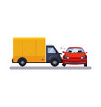 car and transportation issue with a lorry vector image vector image