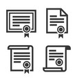 certificate and diploma icons set on white vector image