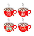 christmas mugs with hot chocolate cocoa vector image vector image