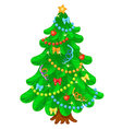 Christmas tree with bright toys in white backgroun vector image vector image