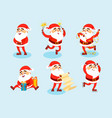 collection christmas santa claus characters vector image vector image