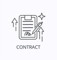 contract and agreement dthin line icon document vector image vector image