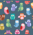 cute cartoon owls seamless pattern funny vector image