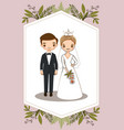 cute couple for wedding invitations card vector image