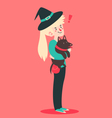 Cute Witch Holding Her Dog vector image vector image