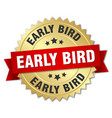 early bird round isolated gold badge vector image vector image