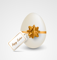 Easter card with egg ribbon and tag template vector image vector image
