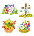 easter eggs bunny and flowers in wicker icons vector image