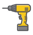 electric drill filled outline icon build repair vector image vector image