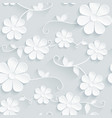 flowers pattern daisy on gray background vector image vector image