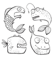 Fun Black and White Line Art Fish Characters vector image vector image