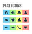 garment icons set collection of stylish apparel vector image vector image
