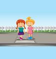 girl crossing crosswalk vector image