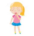 girl in pink shirt yawning vector image