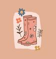 girl pink rubber boots flower gardening doodle vector image