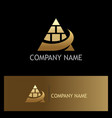 gold pyramid building business logo vector image