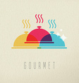 Gourmet restaurant food dish color concept design vector image