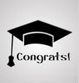 graduation cap student congratulations icon card vector image
