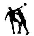 handball player blocking opponent player vector image