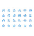 home line icons set house residential building vector image vector image