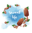 ice cream popsicle and nuts chocolate logo vector image vector image
