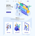isometric website template landing page vector image