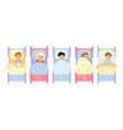 kids in bed asleep children boys and vector image vector image