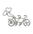line icon tandem bike wedding vector image