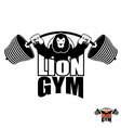 Lion Gym Logo Angry leo strong athlete Barbell and vector image